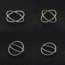 Gold Color Plated X Cross Hot Women`s Ring For Women Jewelry 2018 New Arrivals Stereo Surround Ring(China)