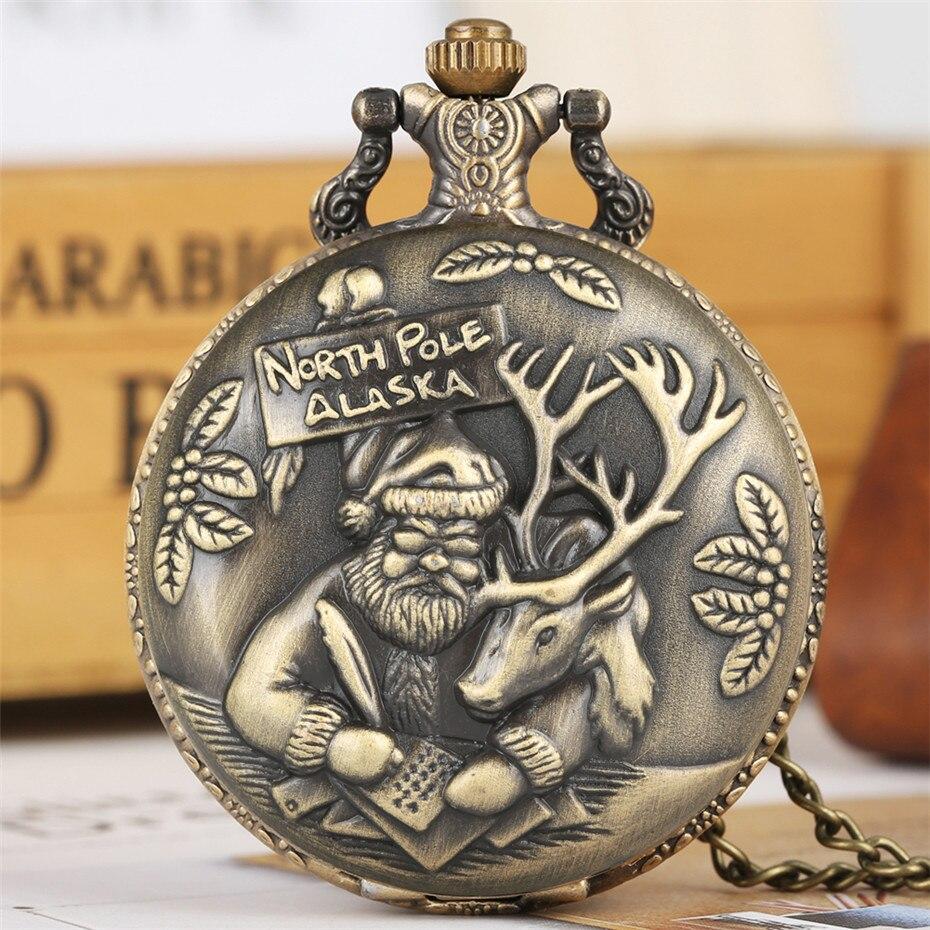 Bronze Christmas Theme Quartz Pocket Watch Santa Claus Elk Display Retro Pendant Clock Gifts For Men Women Kids Necklace Chain