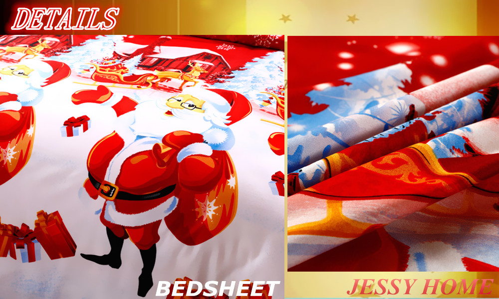 2016 Christmas Merry kids duvet comforter cover twin queen king size 4pc Santa Claus Deer bed set bed linen bedclothes Bedding Set (4)