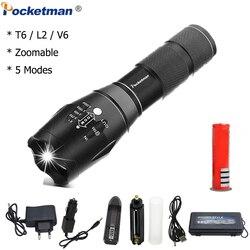 XPL-T6/l2/v6 lanterna led 12000lm zoomable led tocha para 18650/aaa bateria impermeável linterna lanternas led para acampar