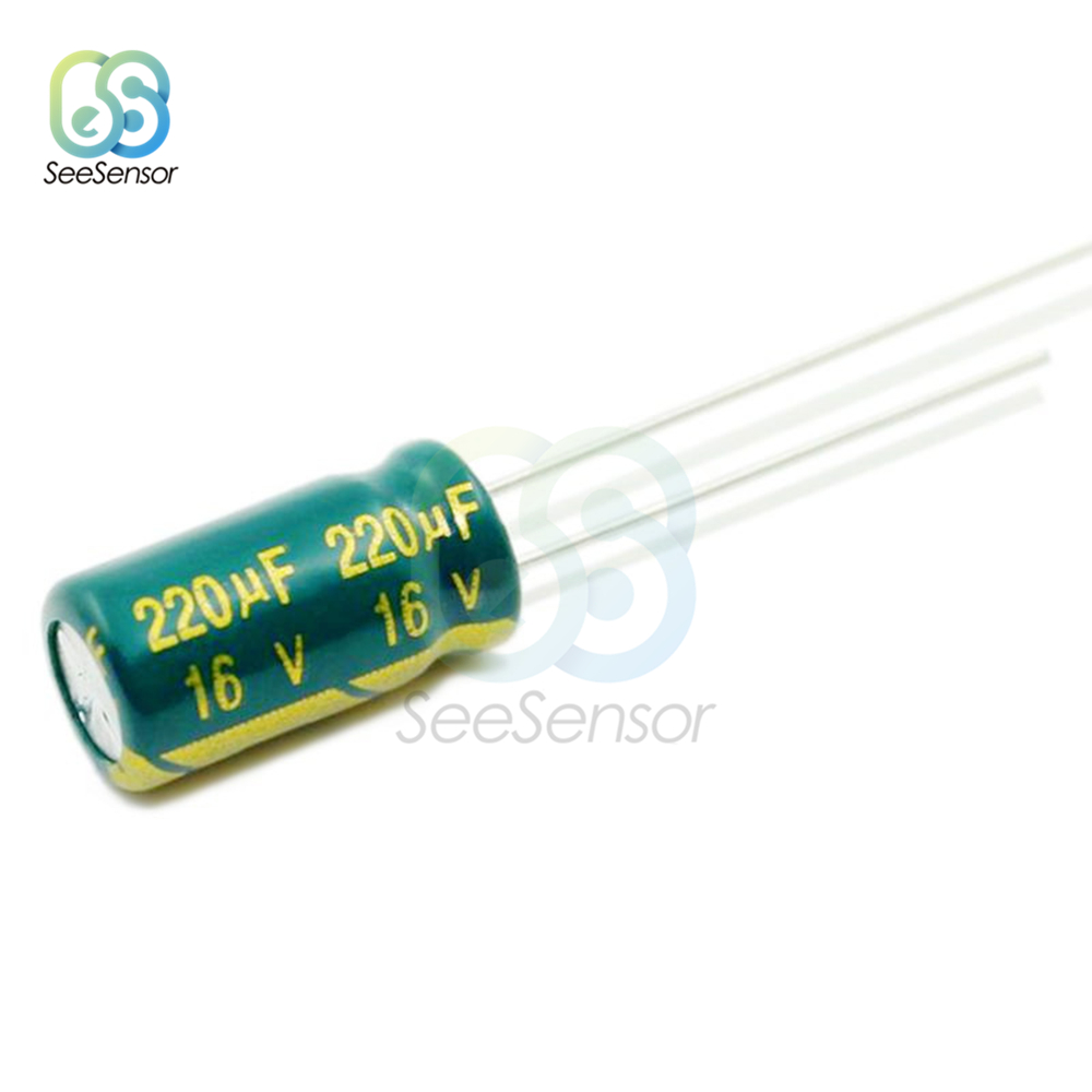 50pcs High Frequency LOW ESR Aluminum Electrolytic Capacitor 16V 220uF 6x12mm