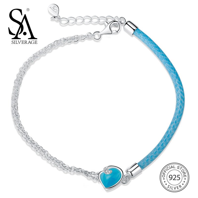 SA SILVERAGE 2018 Women Blue Gemstone Bohemia Bracelets Wedding Heart Fine Jewelry Real 925 Sterling Silver Bracelets for Women