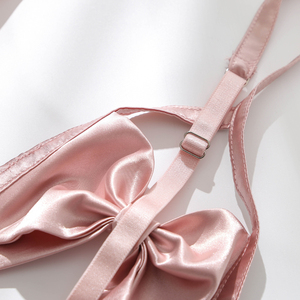 Image 3 - Phụ nữ Cupless Bra Seducive Đồ Lót Bộ Pháp Công Chúa Phong Cách Gợi Cảm Đồ Lót Niềm Đam Mê Bow Knot Bra Panty Garter Belt Set