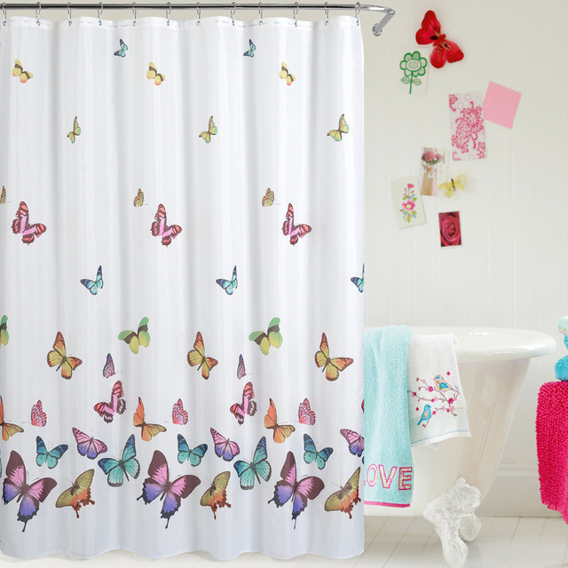 High   Grade Waterproof Mildew Bath Curtains Amazon Hot Simple Butterfly  Printing Polyester Home Bathroom Shower
