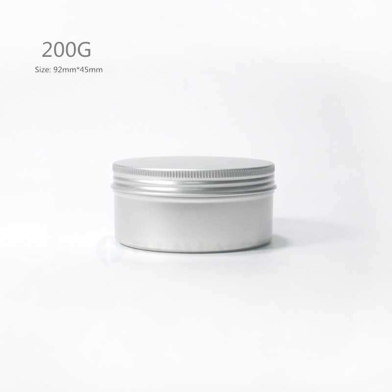 200G x 50 Aluminum Jar screw cap Empty cosmetic container cream jar sample tin 200ml lip