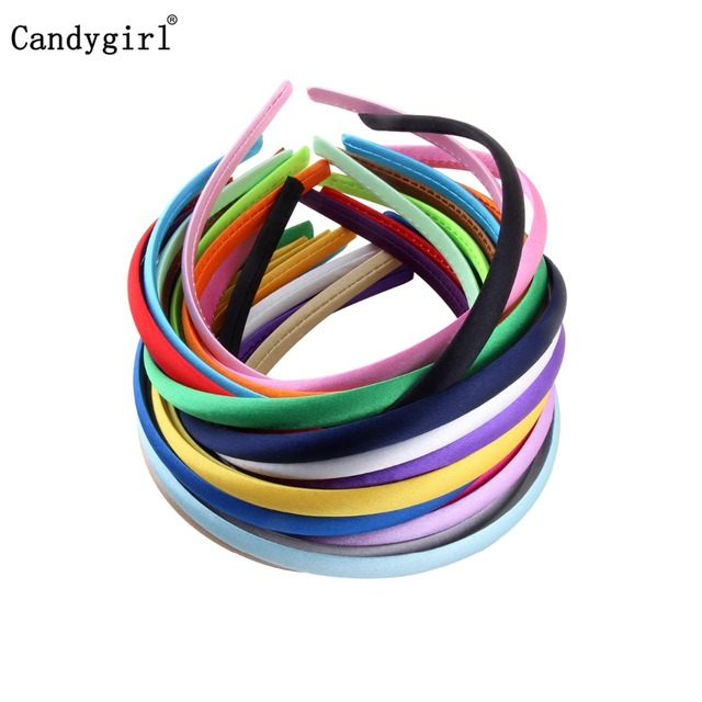 1pc 1cm/1.5cm/2cm Satin Headbands Girl Kids Women Hairband Covered Hair Accessories Multicolor Headpieces Jewelry Headwear DIY