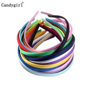 1pc 1cm/1.5cm/2cm Satin Headbands Girl Kids Women Hairband Covered Hair Accessories Multicolor Headpieces Jewelry Headwear DIY