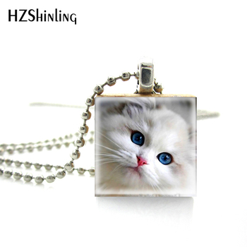Necklaces Pendants Beautiful Innocent Eyes Cute Cat Jewelry Scrabble Tile Pendant with Ball Chain Necklace Included image