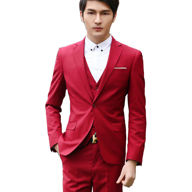 2016 New Arrival Men Wedding Solid Dress Suit 3 Piece Suits with pant vest Men Formal Business Suits blaser costume homme 235
