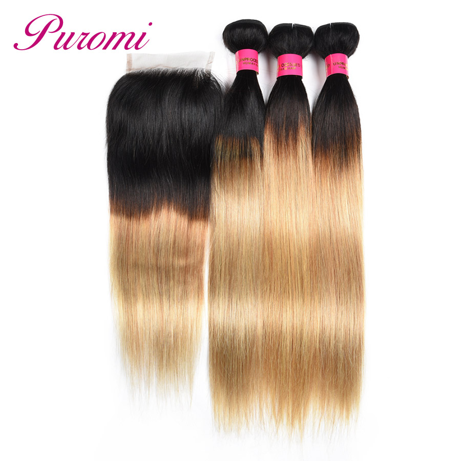 Human Hair Weaves 3/4 Bundles With Closure Search For Flights Puromi 1b/27 Straight Hair Bundles With Closure Free Part Ombre Indian Hair Weave 3 Bundles With Lace Closure Non-remy