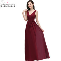 Sexy V Back Burgundy Chiffon Prom Dresses Long 2018 Cheap A Line Sleeveless Evening Party Dresses