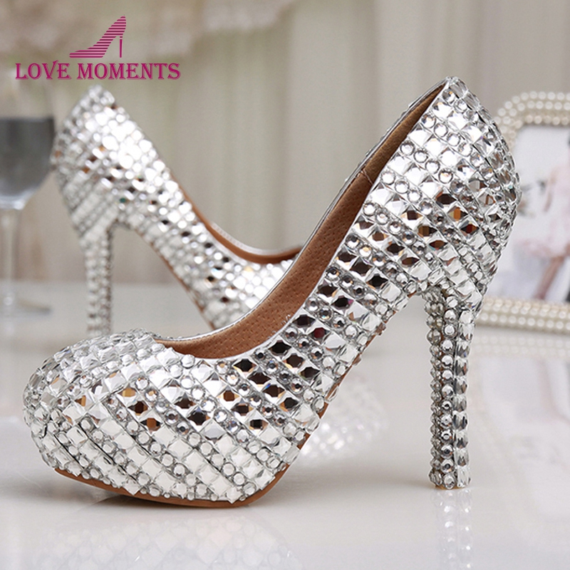 Womens High Heel Glitter Crystal Platforms Wedding Shoes Diamond Jeweled Silver Bridal Shoes 12cm Cinderella Prom Evening Pumps sequined high heel stilettos wedding bridal pumps shoes womens pointed toe 12cm high heel slip on sequins wedding shoes pumps