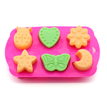 Pink 6pcs Insect silicone Chocolate Molds Star Butterfly hand soap mold cold jelly pudding Mould
