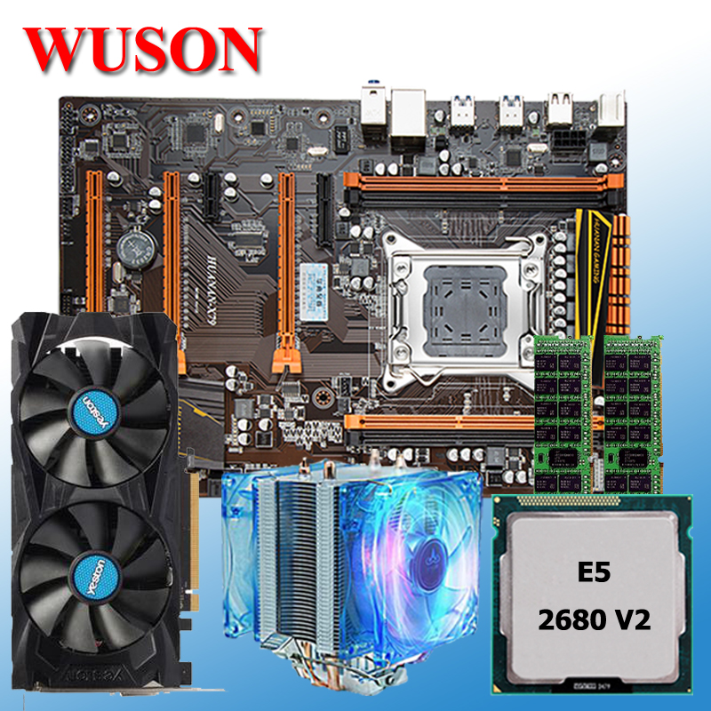 New arrival HUANAN deluxe X79 motherboard Xeon E5 2680 V2 with CPU cooler RAM 16G(2*8G) DDR3 RECC Video card RX460 4GDDR5