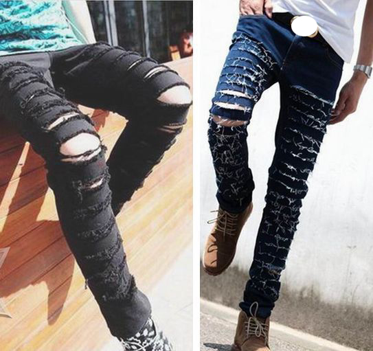 Fashion ripped skinny black jeans mens personality rock style jean pants homme slim fit pants for men distressed calca jeans