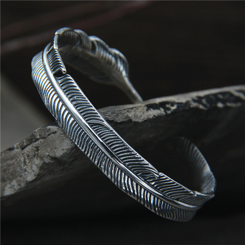 S925 Sterling Silver Retro Thai Silver Jewelry Takahashi Goro Feather Fashion Open Ended Bangle Simple Men
