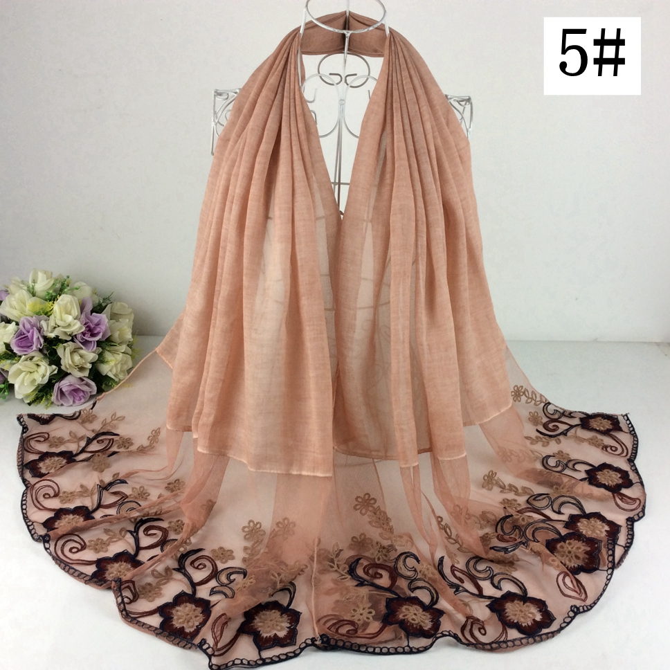 2018 New Arrival Nice Floral Embroidery Cotton Lace Design Long Women Scarves And Shawls Muslim Hijab 10pcs/lot