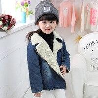 toddler girl boys denim plus velvet jackets zipper coat winter children's jackets coats for baby boy Denim outerwear kids clothe