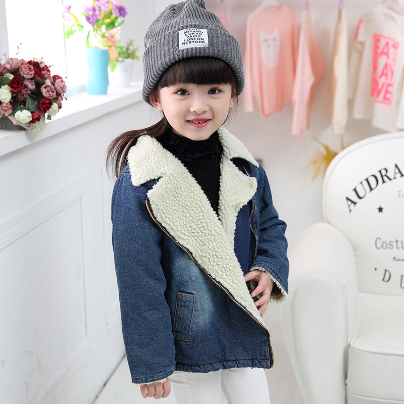 toddler girl boys denim plus velvet jackets zipper coat winter childrens jackets coats for baby boy Denim outerwear kids clothe
