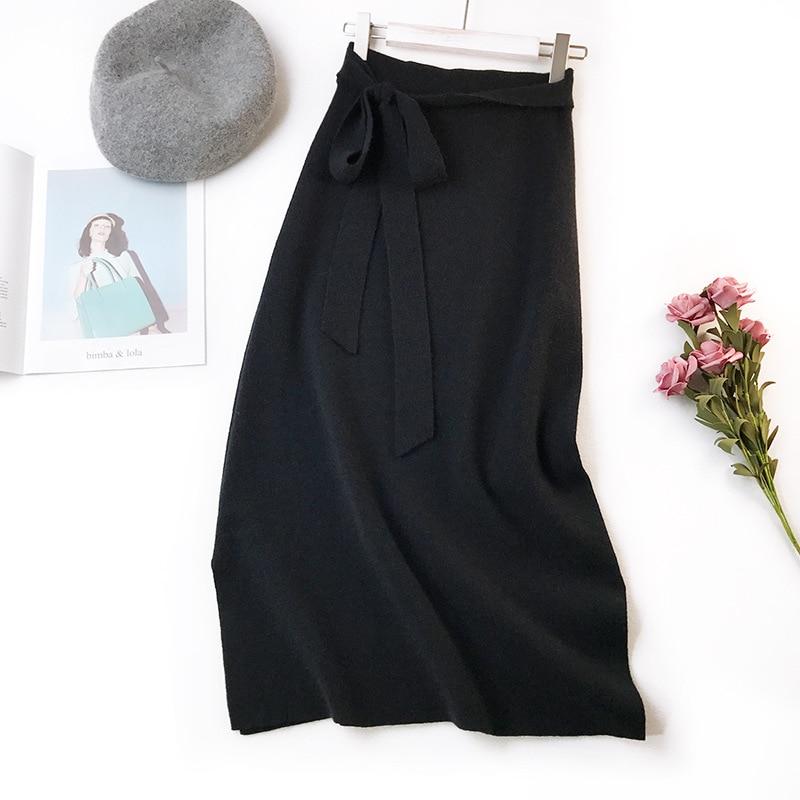 344 water velvet knit skirt women 2018 autumn and winter new women's long section high waist bag hip split A skirts 6