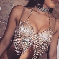 Luxury Body Necklace Bra Breast Layered Chains Strands Rhinestone bra Tops Sexy Club Party Chain Rhinestone Crystal Bling Gift
