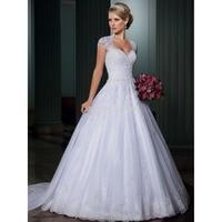 wuzhiyi wedding dress vintage vestido de noiva Custom Made wedding gowns A line Open Back vestido de casamento Detachable Train