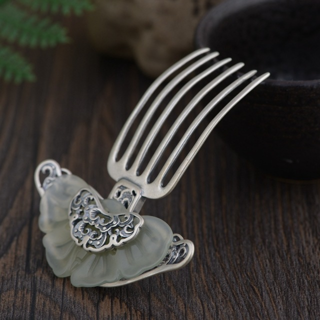Inlay Thai Silver Hair Comb Vintage Chinese Style Silver Hairpin Peony Flower Hair Pin Jewelry Hair Accessories WIGO1151