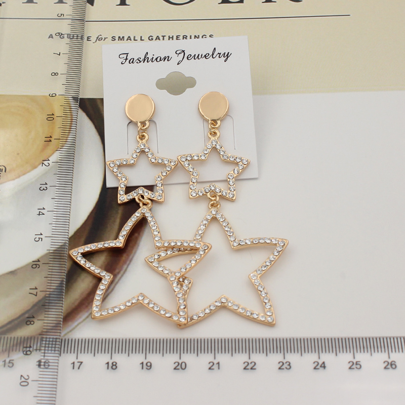 punk hip hop hyperbole hollow out rhinestone stars dangle earrings for women girls gifts jewelry high quality fce010