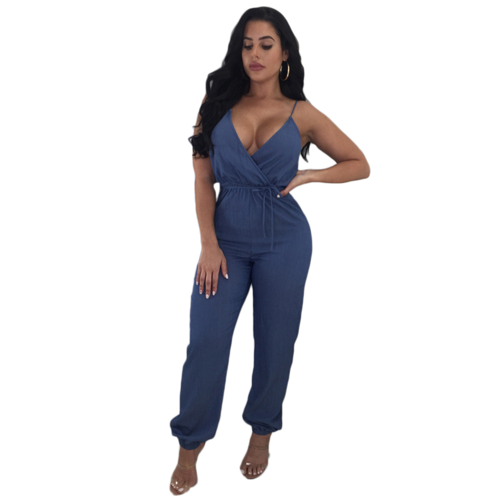 Spaghetti Straps Jeans Jumpsuits Women Sexy Deep V Neck Summer Loose Rompers Long Pants Casual Overalls Jumpsuit Plus Size