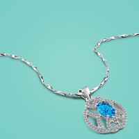 925 Sterling Silver Necklace For Women Heart Of Ocean Blue Zircon Pendant Necklace 46cm Chain Lady