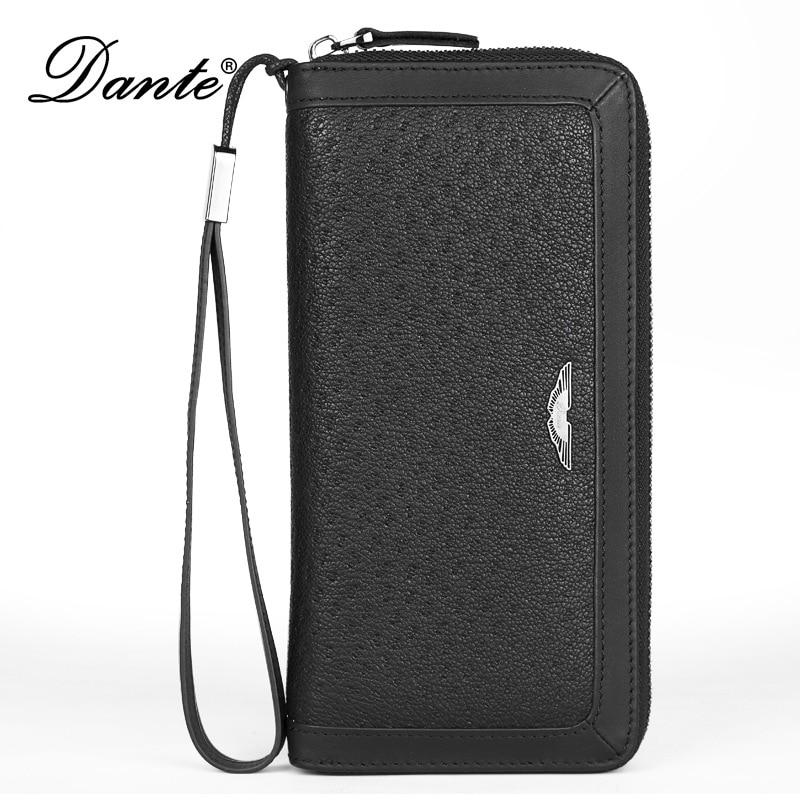 DANTE luxury genuine leather men wallets long zipper clutch purse brand male phone wallet