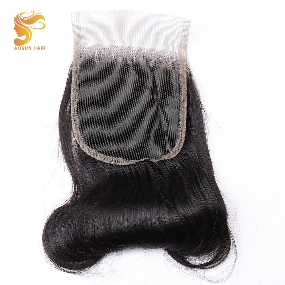 AOSUN HAIR New Arrival 1Pcs Brazilian Human Hair Fumi Bouncy Curly Swiss Lace Closure Egg Curl