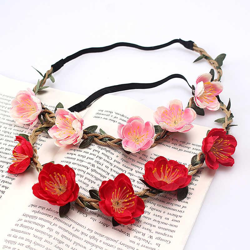 M MISM, diadema de flores bohemias para mujer, bandas florales bonitas para el cabello, guirnalda de tela, Tiara de boda, corona nupcial, guirnalda para niña