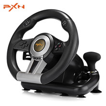 PXN V3II USB Vibration Dual Motor Racing Games Steering Wheel with Brake Pedals Console Illusiveness Remote