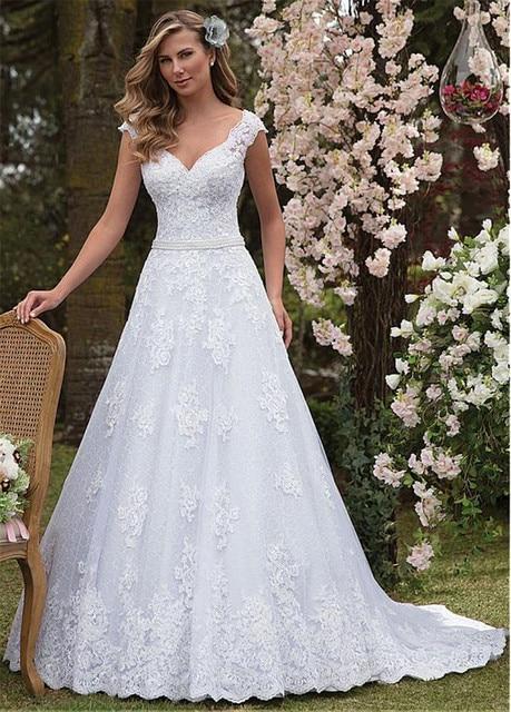 Graceful Tulle & Lace V-neck Neckline A-line Wedding Dress With Lace Appliques & Beadings Sash Bridal Dress vestido de casamento 3