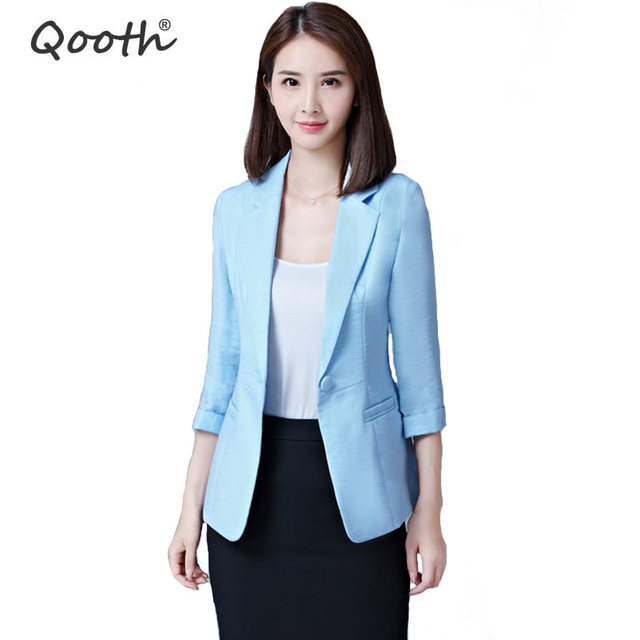 Qooth Women Casual Blazer Plus Size Jacket Business Suit 3 4 Sleeve