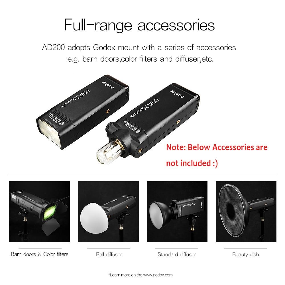 Godox AD200 200Ws 2.4G TTL välklambi 1/8000 HSS Monolight 2900mAh - Kaamera ja foto - Foto 5