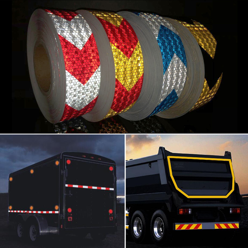 Купить с кэшбэком 5cmx5m Reflective Warning Tape Self Adhesive Sticker Arrow Printing for Car& Motorcycle