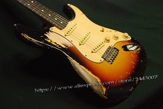 GC Custom Shop Rouge Chaude piments John Frusciante 1962 Sunburst Relic Lourd Guitare Électrique
