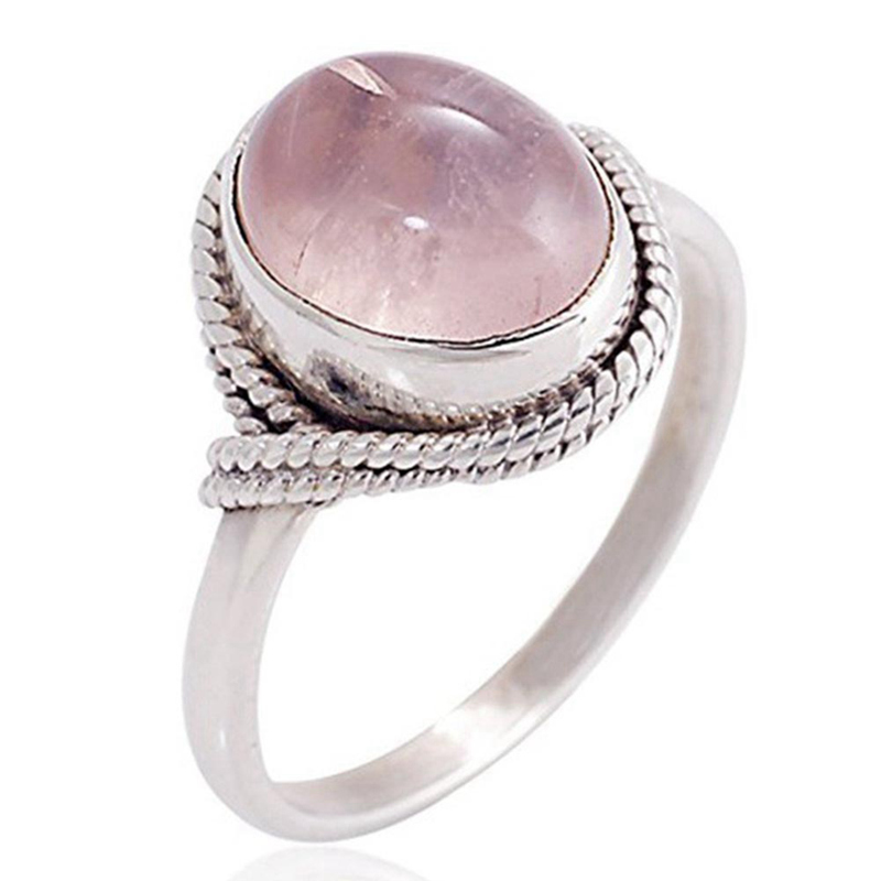 Mulher incrustada rosa quartzs natural furong pedra anel rosa branco cristal do vintage anéis romântico casamento jóias presente