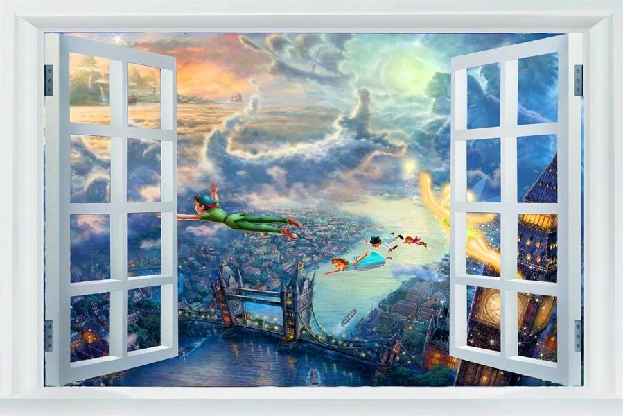 "Peter Pan and Tinkerbell Cartoon Kids Room Wall Decor Sticker Decal 18/""X25/"""