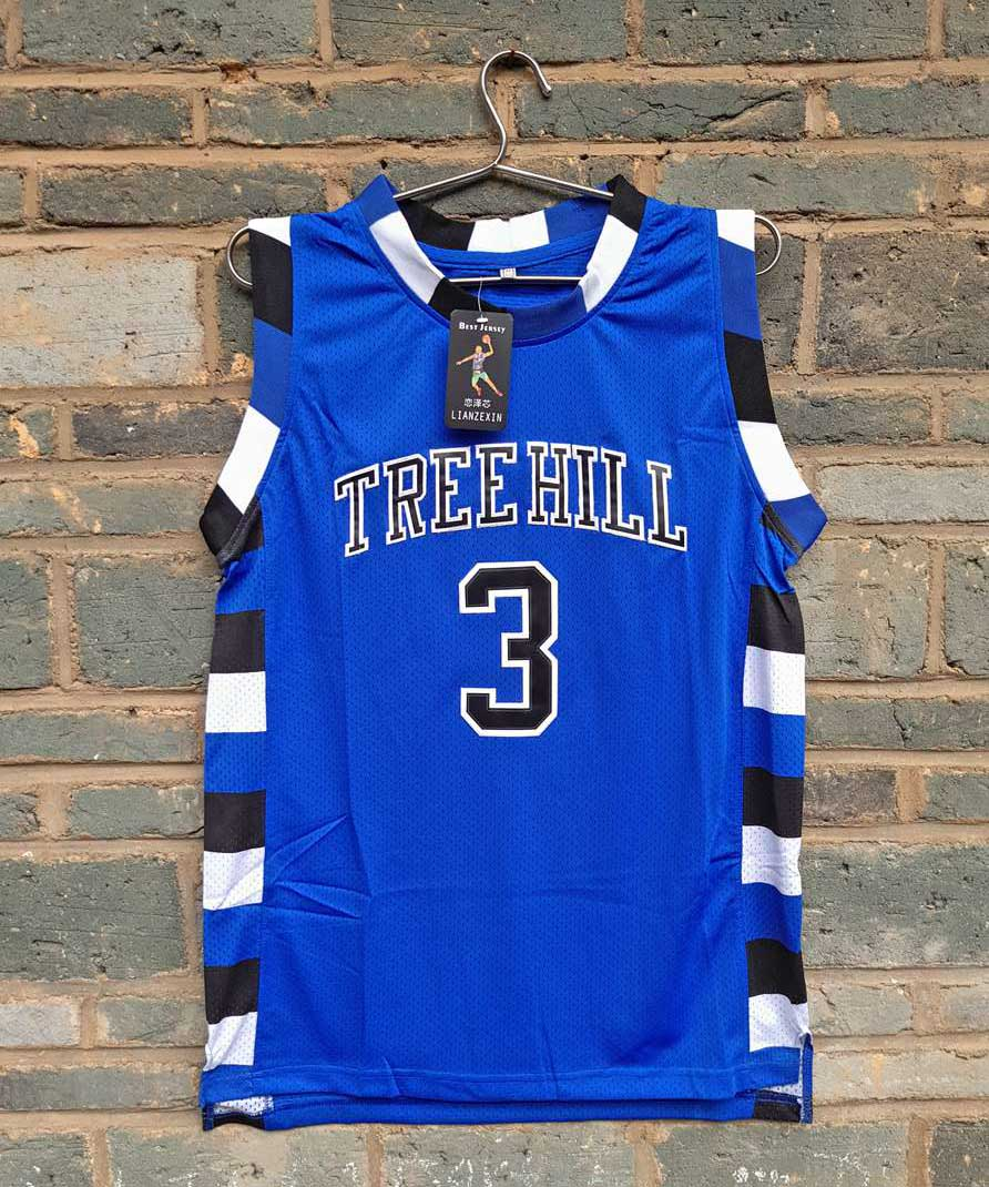 все цены на New Model LIANZEXIN #3 The film version of One Tree Hill Scott Need double stitched mesh basketball jersey Blue Color For Men онлайн
