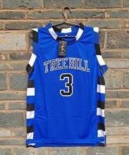 Novo Modelo LIANZEXIN  3 A versão cinematográfica de One Tree Hill Scott  Precisa duplo costurado basketball malha jersey Cor Azu. a7b86cced