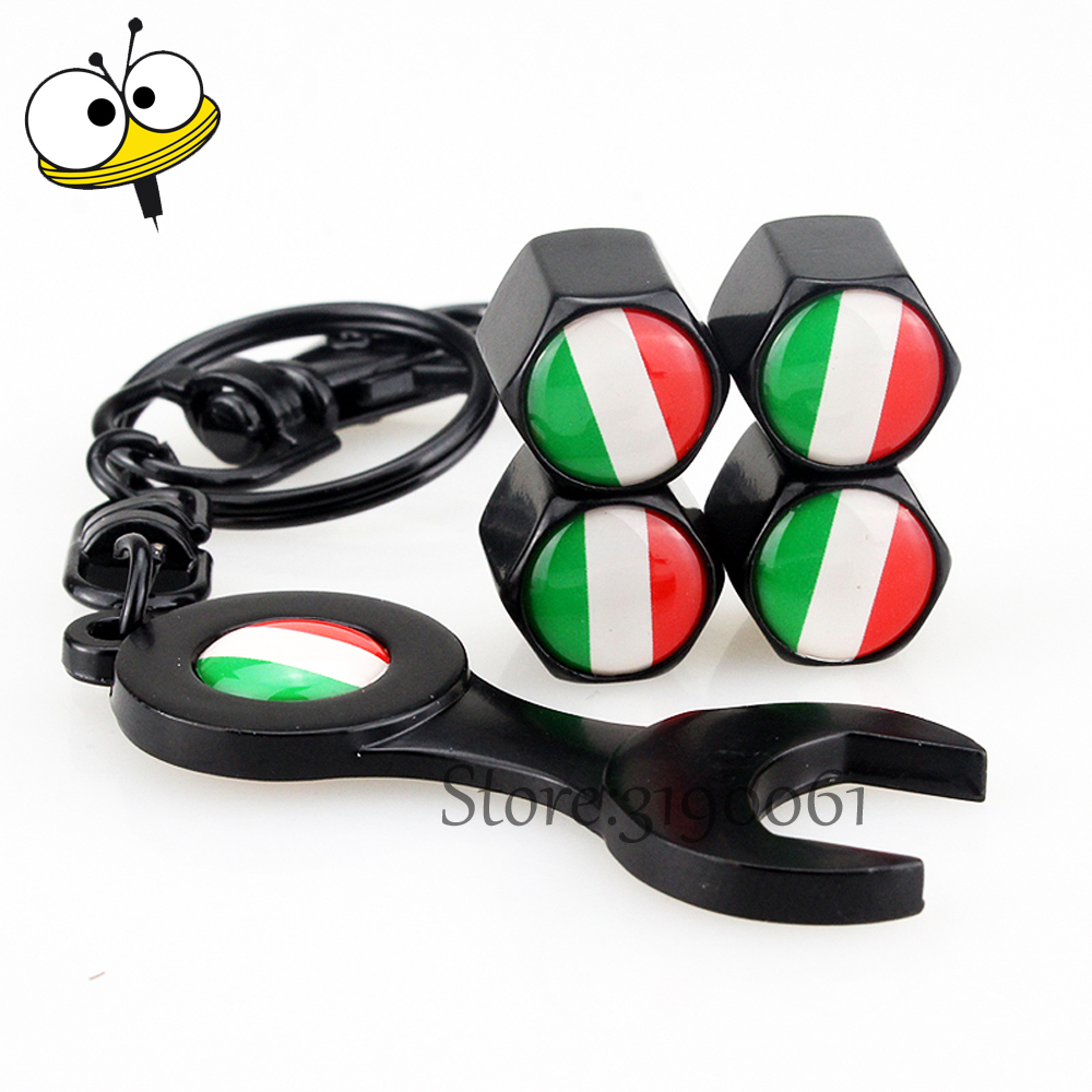 Car Tire Valve Stems Caps Wheel With Mini Wrench Keychain For Italy Flag Logo For font