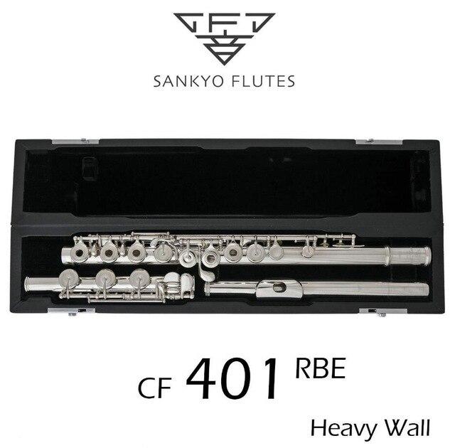 Professionnel Sankyo CF-401 FLÛTE ETUDE E Fendu Clés Argent Plaqué Flûte C ton 17 Trous Ouvert Offset G Copie
