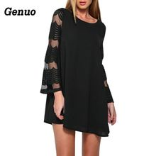 Spring Dress for Women 2018 boho Crochet long sleeve O-Neck Autumn Casual Hollow Out beach dress plus size Genuo Vestidos