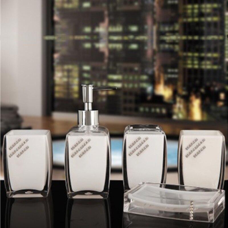 Mode européenne 5 pièces haute qualité résine salle de bain ensemble articles de toilette porte-brosse à dents salle de bain accessoires ensemble cadeaux de mariage