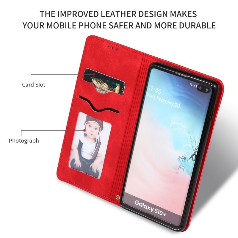 Leather Flip Case For Samsung Galaxy S10 Plus 5G Cases Luxury Retro Wallet Cover For Samsung Note 10 Pro Phone Bags For S9 Coque in Wallet Cases from Cellphones Telecommunications