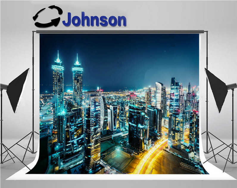 night super city skyline fantastic architecture background Vinyl cloth High quality Computer print party photo backdrop