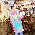 2016 Nuevas Mujeres de La Moda Suéter Ladies'Casual Street Wear Tops de Punto Largo Suéter Para la Primavera Otoño Invierno C185